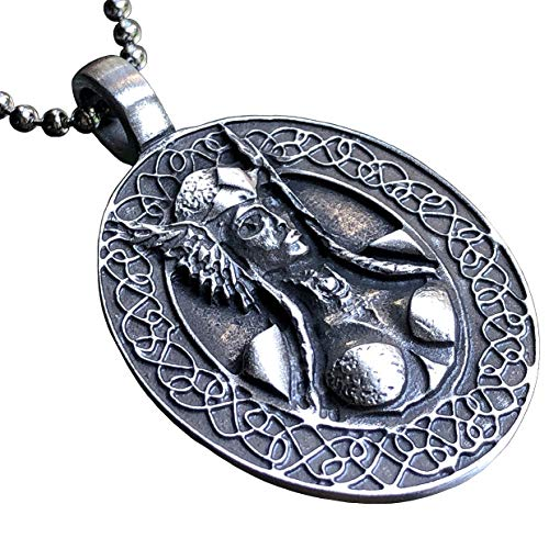 Celtic Viking Jewelry Freya Valkyrie Norse Warrior Goddess Protection Amulet Victory Medallion Wealth Charm Safe Travel Talisman for women men pewter Women's Men's pendant necklace w Silver Ball Chain