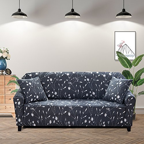 Lamberia Printed Sofa Cover Stretch Couch Cover Sofa Slipcovers for Couches and Loveseats with Two Free Pillow Cases (Moonlight Flower, Loveseat)