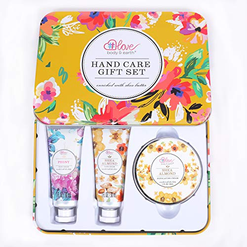Hand Care Gift Set - Hand Cream Set with Shea Butter, Travel Size Hand Lotion for Women, Skin Care Gift Set Includes 2 Hand Cream & Exfoliating Cream, Gift Box for Women Birthday Christmas Gifts