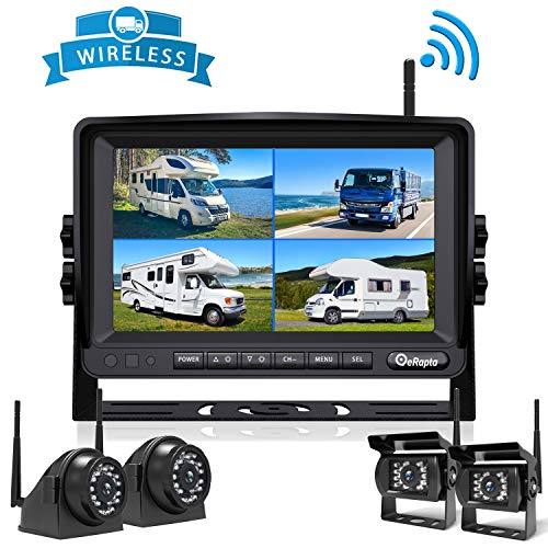 Wireless Backup Camera DVR for RV Truck Trailer Pickup with Monitor Back up Camera Reverse Rear Side View Reversing Stable Signal 1080P Observation System 4 Split with Recording Function eRapta EWX4