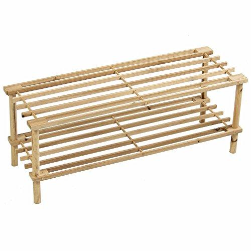 Prima HOUSEWARES - Zapatero de madera, estante organizador de almacenamiento, unidad de soporte – 2/3/4 niveles, natural, 2 niveles