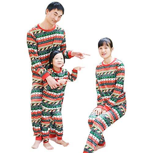 BOZEVON Bambini Adulto Unisex Pigiama Natale Set - Abbinamenti Famiglia Natale Pigiama Natale Alberi Fiocco di Neve Sleepwear, Verde-Tag 5T