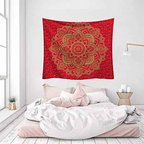 Wandteppich, rot, indisches Mandala, Kunst, Bohemia, Hippie, 3D-Druck, Polyester, Silber, dekorativ, Picknick, Schlafsaal, Wohnzimmer, Schlafzimmer, Arbeitszimmer, Fenster