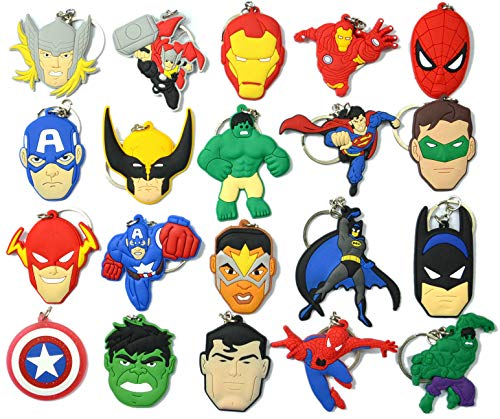 20pcs Superhero Key Chain Key Tags Goodie Bag Stuffer Holiday Charms for Boys
