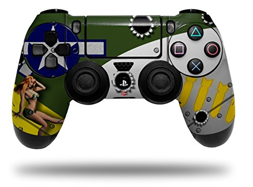 WraptorSkinz Skin compatible with Sony PS4 Dualshock Controller PlayStation 4 Original Slim and Pro WWII Bomber War Plane Pin Up Girl (CONTROLLER NOT INCLUDED)