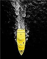 GHXCTKU 大人と子供のためのDIYダイヤモンド番号 ダイヤモンド ペインティング 漫画 ン リビングルーム ウォールアート 装飾 クロスステッチ フルラウンドドリル 海の黄色いボート 50*60cm