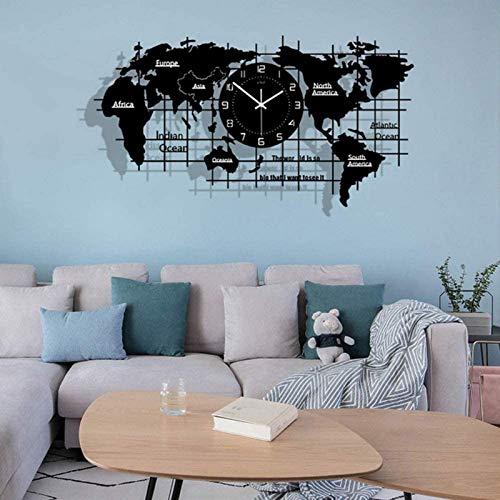 HCYY Reloj de pared con mapa del mundo en 3D, reloj de mapa del mundo personalizado, reloj silencioso creativo moderno, sala de estar, oficina y dormitorio, acrílico mapa del mundo decoración de pared