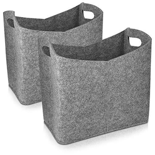 Navaris 2X Cesta de Fieltro para Almacenamiento - Set 2X Bolsa Rectangular de 40 x 23 x 39.5 CM - Cesto para almacenar leña revistas con Asas - Gris