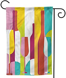Mannwarehouse Garden Flags,Summer Decorative Mini Double Sided for All Seasons and Holidays Abstract - Colorful Pop Art Wine Menu