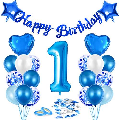 1er Anniversaire Décorations, Chiffre 1 Ballons, Bleu 1ère Balloons, Fête 1ème Ballons Décoratifs, Anniversaire 1an Garçons Décoration