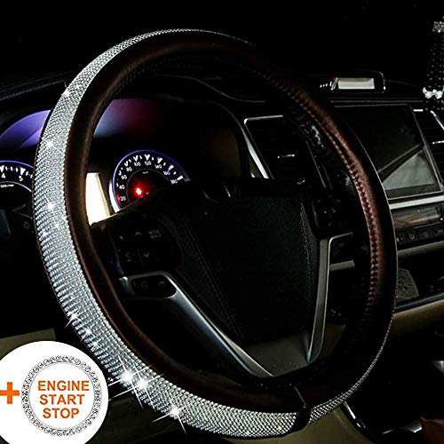 BabYoung Bling Steering Wheel Cover 15 inch for Women, PU Leather...