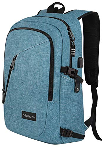 School Backpack for Women, Anti Theft College Student Backpack with USB Port, Slim Lightweight Laptop Backpack, Water Resistant Sturdy Carry On Rucksack for Work Campus Fit 15.6' Computer (Crest Blue)