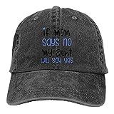 Si mi mamá dice que no mi tía dirá sí impreso sombrero de mezclilla ajustable vintage sombreros de béisbol denim casqueta negro, Negro, Taille unique