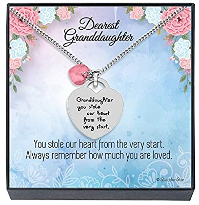 Granddaughter Jewelry Necklace Gifts - ''Granddaughter You Stole Our Heart'' Keepsake Sentimental Heart Necklace for Christmas, Birthday Present Stocking Stuffers for Little Girls (Rose Pink)