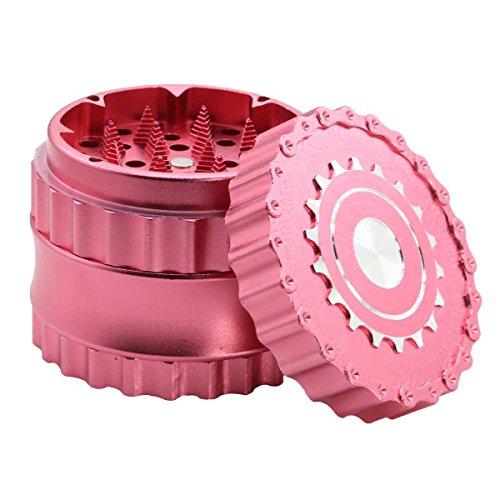 DCOU neues Design Premium Herb Grinder ø63mm 4 Stück Mühle mit Dreieck scharfen Zahn (Matt-rosa)