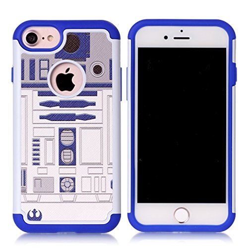 iPhone 8 Case,iPhone 7 Cover - R2D2 Astromech Droid Robot Pattern Shock-Absorption Hard PC and Inner Silicone Hybrid Dual Layer Armor Defender Case Cover for Apple iPhone 7 and Apple iPhone 8