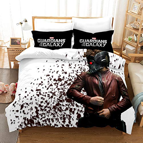3D Guardianes de la Galaxia - Juego de funda nórdica de 50 x 75 cm y funda de almohada antiincrustante para regalo o decoración de dormitorio (A-02,259 x 229 cm (50 x 75 cm)