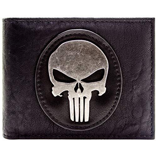 Cartera de Marvel The Punisher Insignia de Plata del cráneo Negro