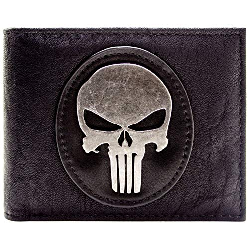 Cartera de Marvel The Punisher Insignia de Plata del cráneo Negro