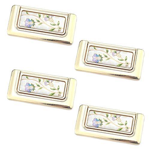 4 tiradores dorados para gabinete con diseño de flores, tiradores para armarios y cajones, con tornillos de montaje, aleación de zinc, agujero central a centro, 64 mm