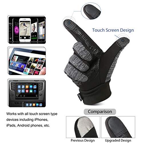 Vbiger Herren Touchscreen Fahrhandschuhe SMS Handschuhe für Frühling Herbst Winter, Gr.-S, Schwarz-1 - 3