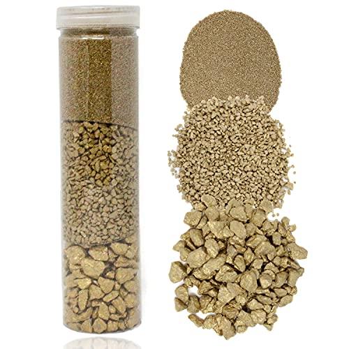 Selldorado® Dekosand in Gold wiederverschließbare Behäter - Bastelsand zum dekorieren - Vogelsand für Nester - feiner Sand 700g