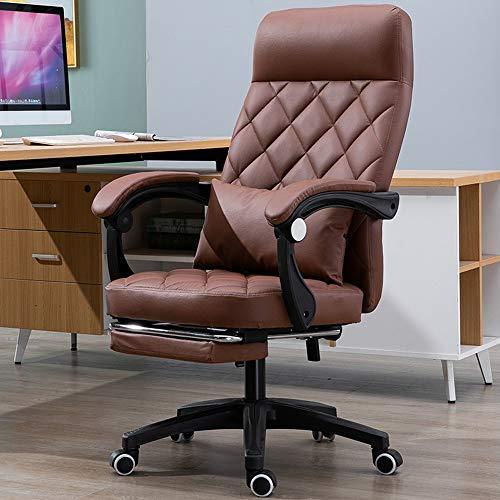 YONG FEI Silla giratoria - de Cuero Artificial con reposapiés reclinable Oficina en casa reunión telesilla Jefe giratoria, Sillas ++ (Color : Amber)