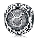 NINAQUEEN Charm Pandora adattarsi Toro Segno Zodiaco Idee Regalo Donna Argento 925 Zirconio Perline per la Madre Fidanzata Moglie