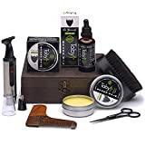 Beard Care Kit, Grooming & Trimming Gift Set for Men Includes - Beard Oil, Beard Balm, Horsehair Brush, Wooden Comb, Facial, Nose & Ear Trimmer, Beard & Mustache Scissors
