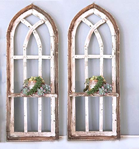2 Cathedral arch window frames, Shelf, 36 inch Farmhouse cottage decor, Cathedral window frame, chippy paint, Wall decor, Farmhouse wall, Window frame