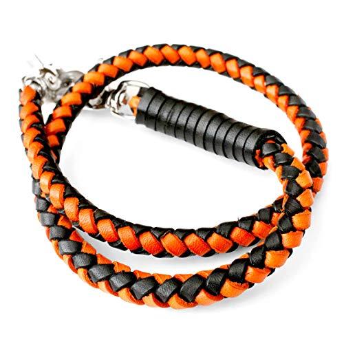 ウォレットチェーン 本革 4本編みサドルレザー ウォレットロープ ハーレーカラー ブラック オレンジ