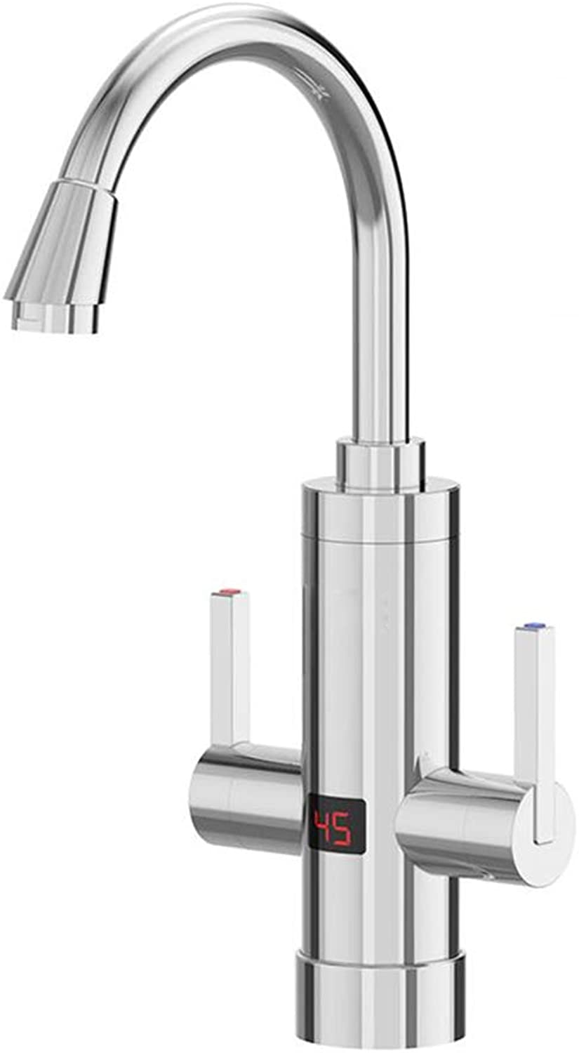 WHYDIANPU 360-degree redating electric faucet, quick-heating and water heater kitchen household kitchen treasure Home faucet (color   Silver)