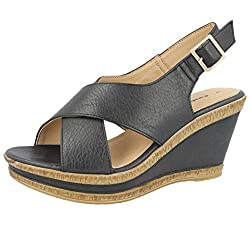 Open Toe, Sling Back Mid Wedge Sandals COMFORT, FLEXIBLE, DURABLE, CUSHIONED, BREATHABLE Cushion Walk - Over 150 Years Of Shoe Making Experience Causal, Every Day Summer Sandals, Holiday, Cruise Or Dress Up For An Easy Day To Night Evening Shoe UK/EU...