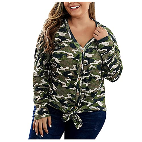 Wave166 Mujer Plus Size Top Botón, cuello en V, blusa corta de manga larga con botones nudos, ropa de camuflaje para uso diario casual para niñas grasas, verde, XL