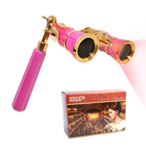 HQRP 3 x 25 Opera Glasses w/Crystal Clear Optic (CCO), LED Light, Extendable Handle/Pink-Pearl with Gold Trim in Gift Box