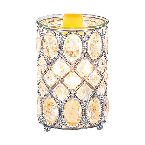 N/W Crystal Wax Warmer Hollow Electric Fragrance Candle Warmer for Warming Scented Candles,Wax Melts - Spa,Aromatherapy (Silver 2)