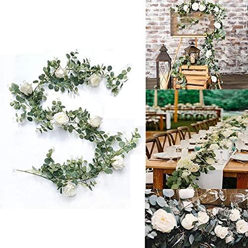 Demic Künstlich Eukalyptus Pflanzengirlande mit Teerose Künstliche Pflanze Eukalyptus Blätter Blumen Girlande Deko Eukalyptus Kranz Kunstpflanze Hochzeit (Eukalyptus mit Teerosen, 1)