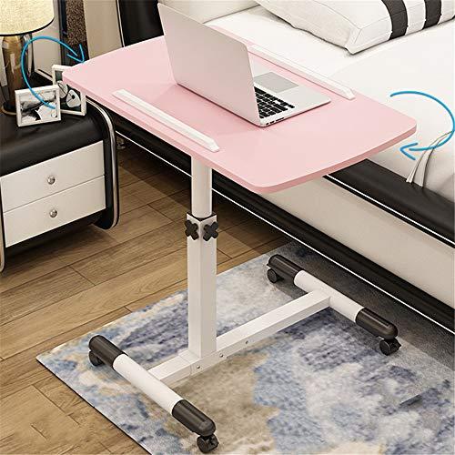 Honglimeiwujindian Computer Desk Portable Computer Desk Lazy Table Desktop Folding Table Removable Bedside Table Home Bed Desk PC Laptop on Wheels (Color : Pink, Size : 62-95x60x40cm)