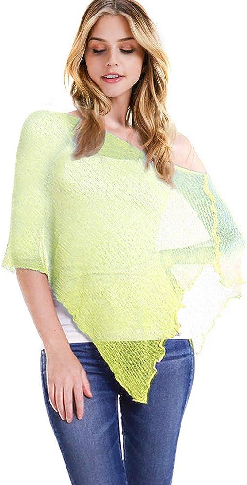 CCFW Womens Popcorn Knit Sheer Poncho Shrug Bolero, Lightweight Spring Summer Shrug Pullover Sweater Multi Tops