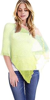 chicchicfashionworld CCFW Womens Popcorn Knit Sheer Poncho Shrug Bolero, Lightweight Spring Summer Shrug Pullover Sweater Multi Tops