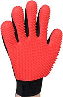 AWINNER Pet Grooming Glove - Gentle Deshedding Brush Glove - Efficient Pet Hair Remover Mitt - Enhanced Five Finger Design...
