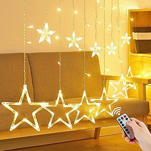 Luces de Cortina de Estrella, 138LEDs 3.5M Estrella Guirnalda, Led Cortina Cadena de Luces, Guirnaldas Cortina de Estrella, 8 Modos Ajustable Guirnalda Luminosa de Cortina para Boda, Navidad, Exterior