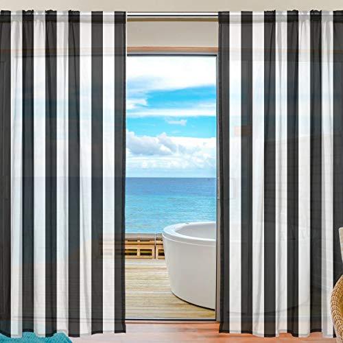 Bonipe Vorhang aus Voile Tüll, Schwarz / Weiß gestreift, für Küche, Schlafzimmer, Wohnzimmer, Wohnzimmer, Dekoration, 139,7 x 198 cm, 2 Paneel-Set, Polyester, multi, 55x78x2(in)
