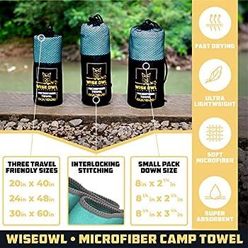 Wise Owl Outfitters Serviettes de camping ? Serviette de voyage à séchage rapide pour le camping, le sport, la natation, le yoga, la randonnée et la randonnée, menthe d'hiver