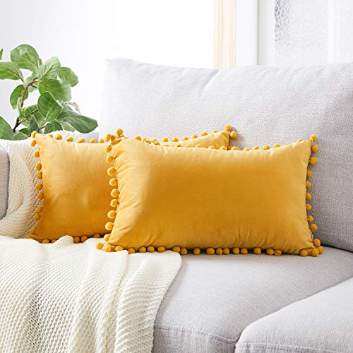 Topfinel Yellow Oblong Cushion Covers 12x20 Inch Velvet Soft Decorative Throw Pillowcase for Office Sofa Bedroom 30cmx50cm,Pack of 2