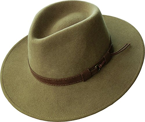 Harrys-Collection, Cappello a tesa larga, pieghevole, con ampia fascia marrone di tessuto, disponibile in 3colori marrone chiaro 59