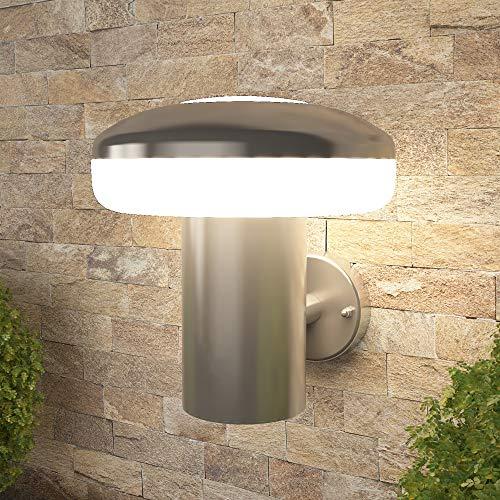 NBHANYUAN Lighting® Lámpara exterior LED de pared para balcón, jardín, color plateado, acero inoxidable, 3000 K, luz blanca cálida, 220-240 V, 1000 lm, 9 W, IP44...