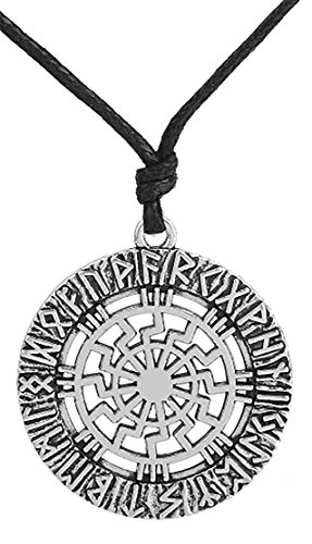 Dawapara - Collar con colgante de runas nórdicas eslavas Kolovrat vintage para hombre