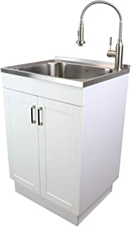 Transolid TC-2420-WC 24-in. All-in-One Laundry/Utility Sink Kit White/Stainless Steel