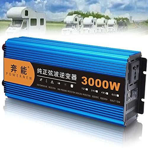 Inversor de onda sinusoidal pura 3200W 12V 24V 48V a 220V 230V Inversor de onda sinusoidal para vehículos con enchufes de CA y conexiones USB, para viajes al aire libre,48V